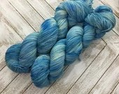 In Stock | Hand Dyed Yarn | Indie Dyed | Fingering Weight | Superwash Merino Wool | Speckled | Mosaic | Blues
