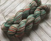 In Stock | Hand Dyed Yarn | Indie Dyed | Fingering Weight | Sock Yarn | SW Merino/Nylon | Variegated | Olive | Mint | Red-Orange