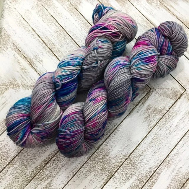 In Stock | Hand Dyed Yarn | Indie Dyed | Fingering Weight | Superwash Merino Wool | Speckled | Grey/Gray | Pink | Blue