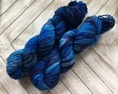 In Stock | Hand Dyed Yarn | Indie Dyed | Fingering Weight | Superwash Merino Wool | Speckled | Blue | Navy