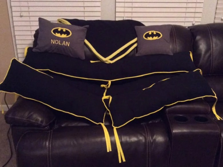 By MooseTracksDesign Batman Crib Set
