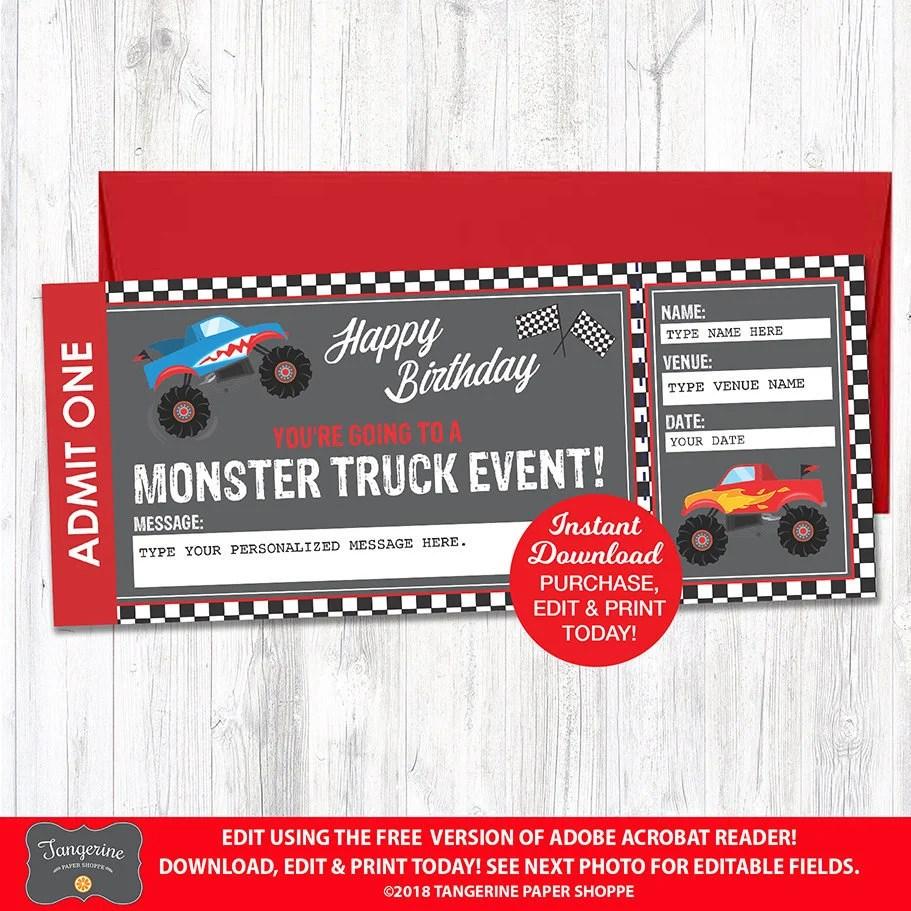 monster truck ticket etsy