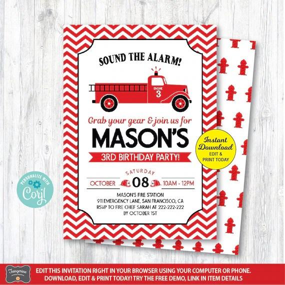 editable fire truck invitation