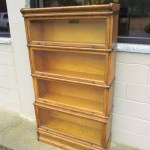 Antique Macey Barrister Bookcase Light Oak Automatic Retractable Glass Doors 4 Tier Sectional Lawyers Stacking Book Case Display Shelf