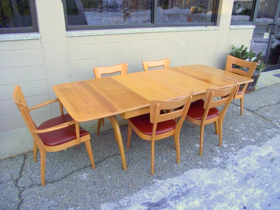heywood wakefield dogbone chairs cast iron table and perth dining 6 set etsy image 0