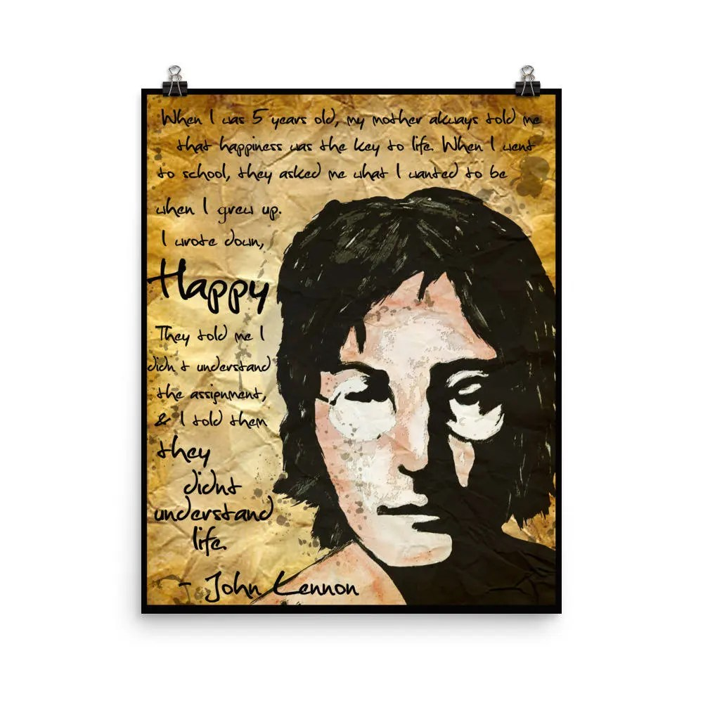 John Lennon Happiness Quote The Beatles Poster Print Gift Etsy