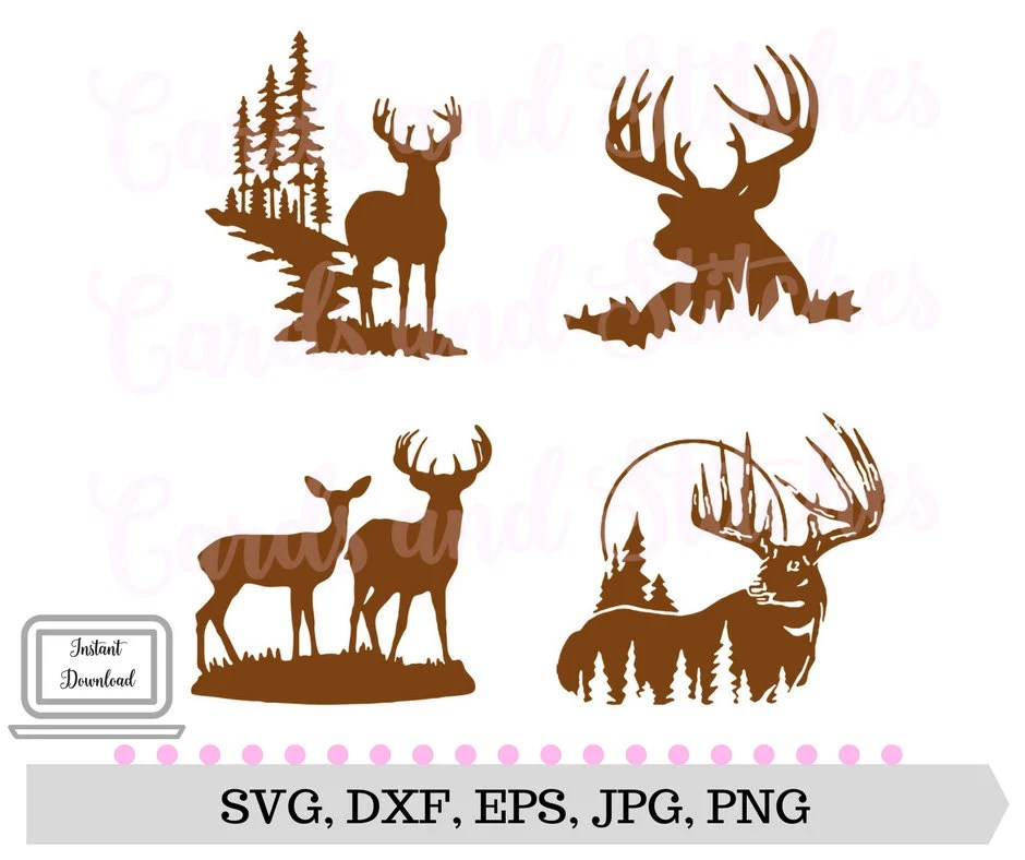 Download Deer Silhouettes SVG Deer SVG Digital Cutting File | Etsy