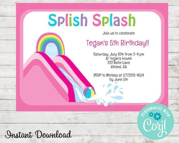 water slide birthday party invitation