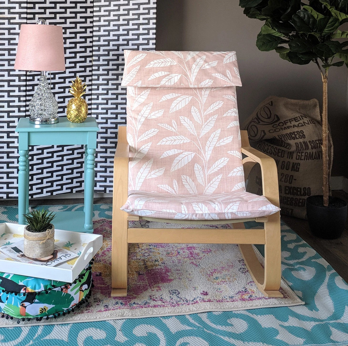 poang chair covers etsy bedroom amazon blush pink tropical leaf ikea summerhouse cover image 0