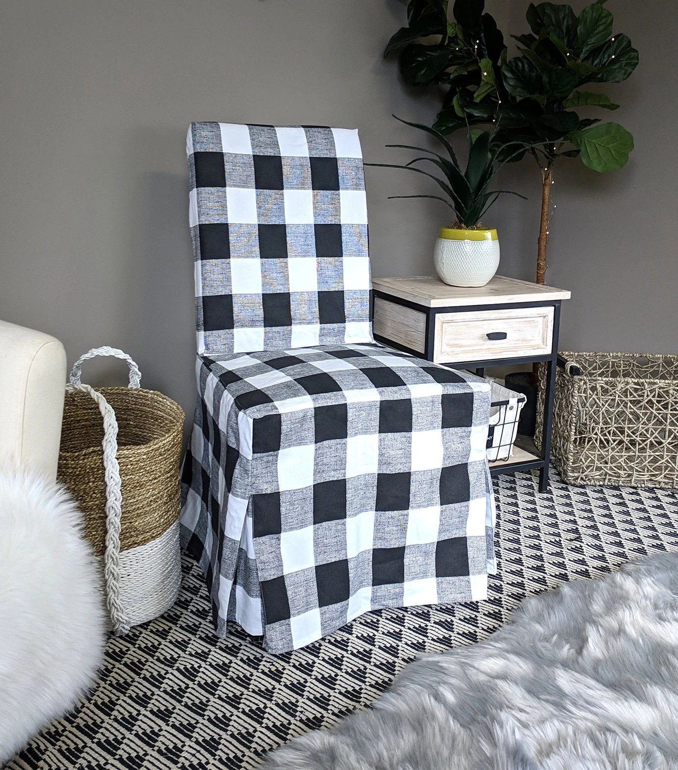 tartan dining chair covers for sale patio chairs at walmart plaid buffalo check black white ikea henriksdal etsy image 0