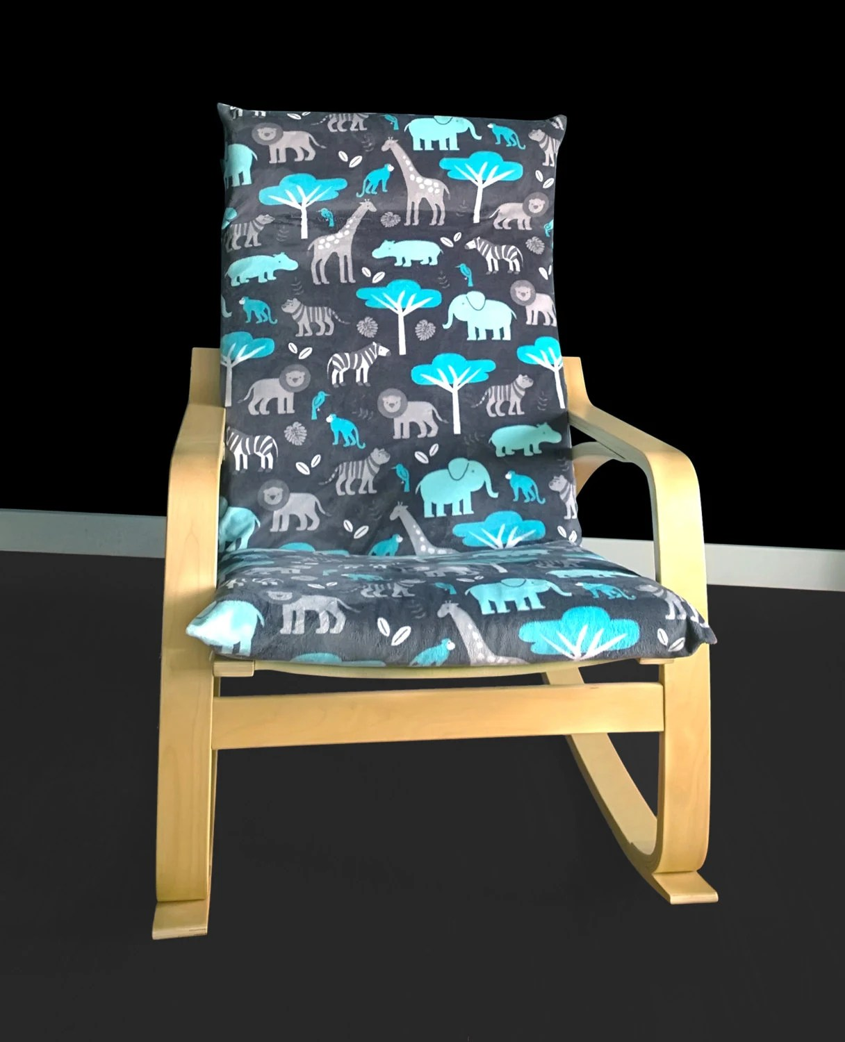 poang chair covers etsy swing with stand india safari animals custom ikea cover