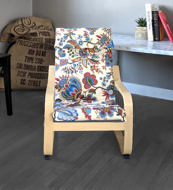 ikea poang chair cover reclining garden chairs asda girls flowers floral print etsy image 0