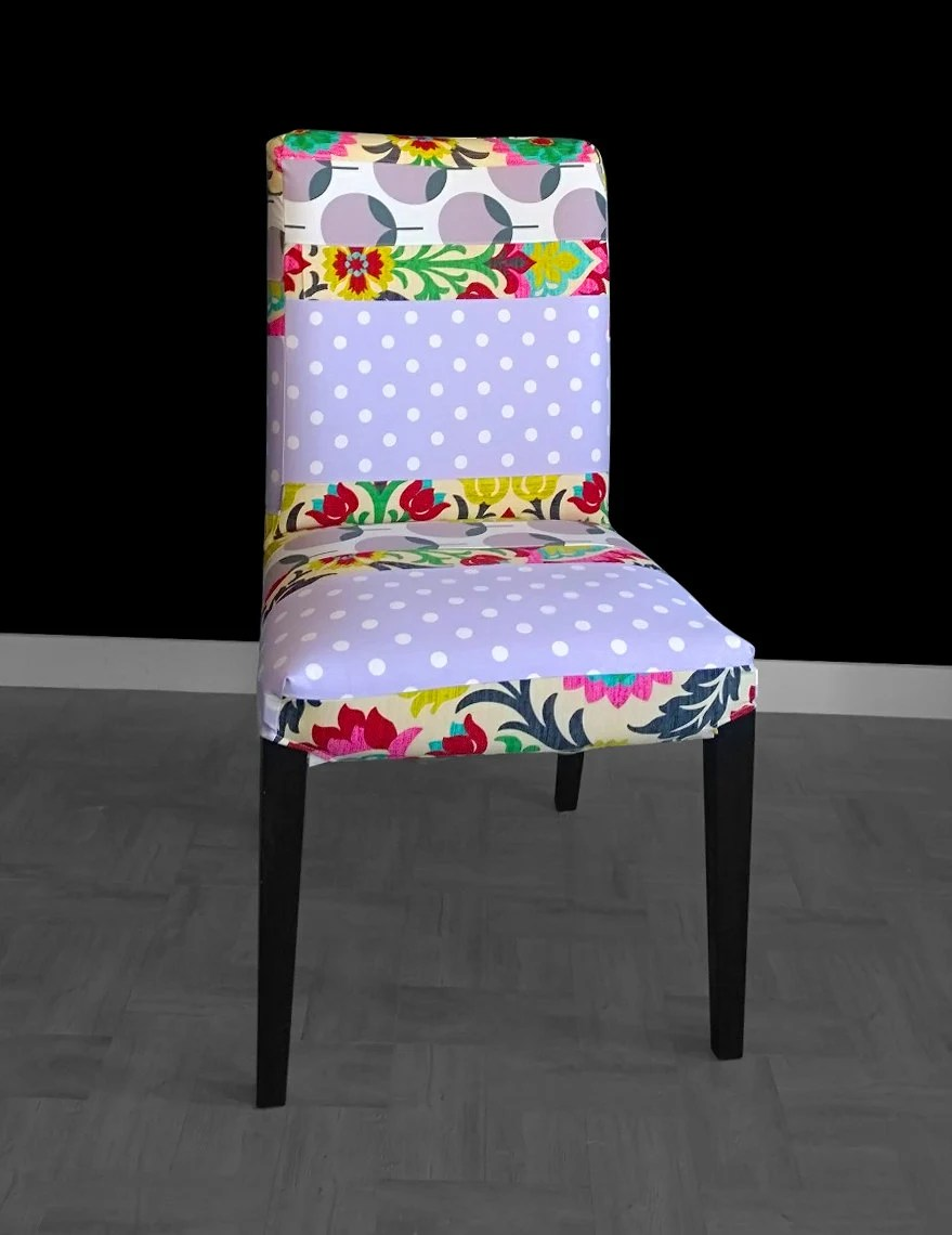 ikea accent chair covers table and rental near me polka dot flowers henriksdal dining cover gallery photo