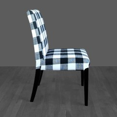 Tartan Dining Chair Covers For Sale Horse Saddle Seat Plaid Buffalo Check Black White Ikea Henriksdal Cover Gallery Photo