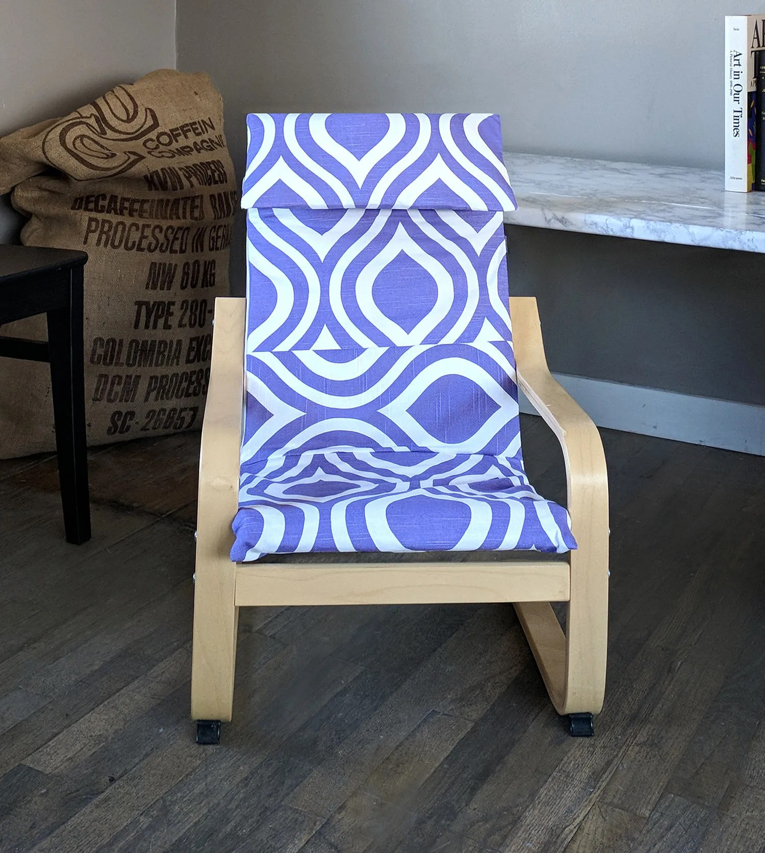 Chair Cover Patterns Purple Patterned Child S Ikea Poang Seat Cover