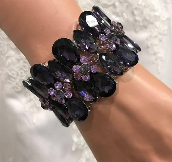 Purple Wedding Stretchable Cuff Bracelet Crystal