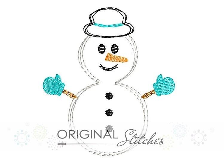 Quick Stitch Snowman Embroidery Digital Design File 4x4