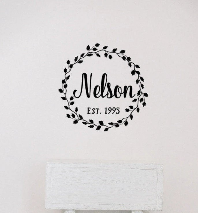 Last Name Decal Wreath Decal Established Date Vinyl Wall