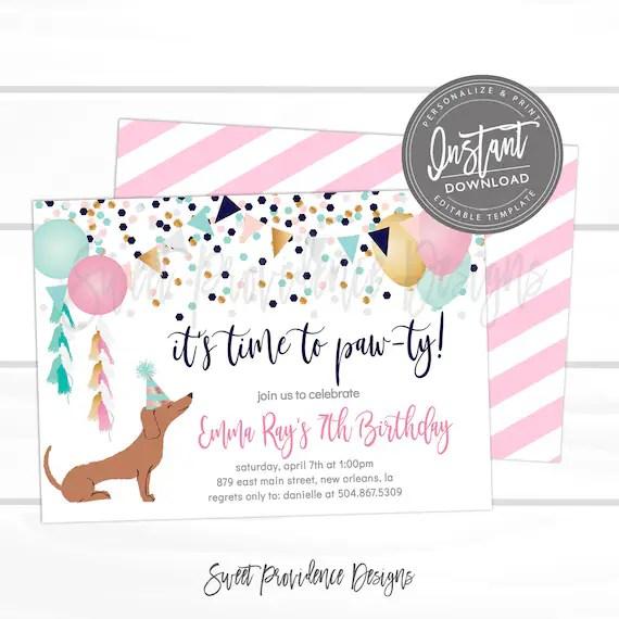 puppy dog birthday invitation time to
