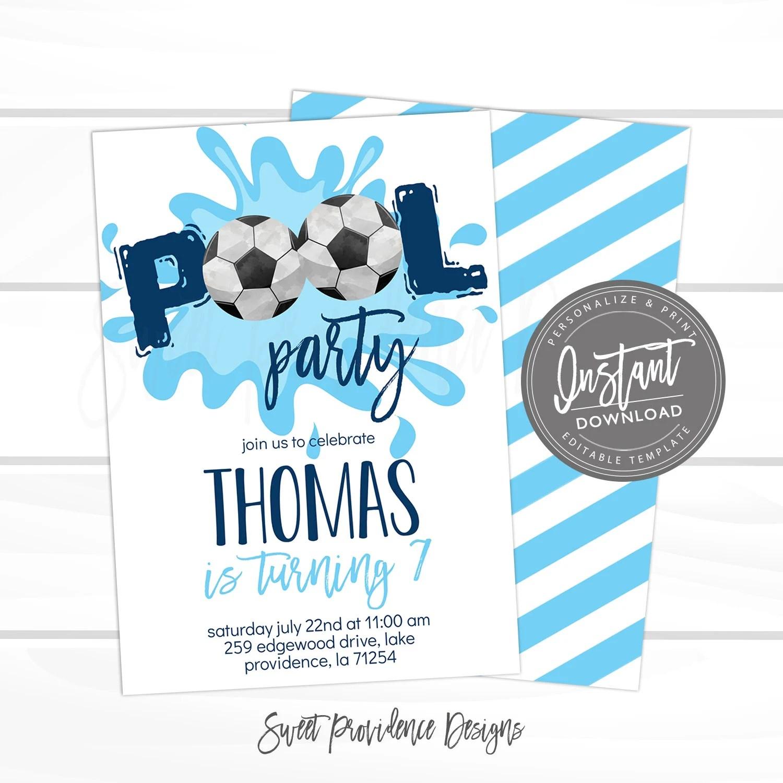 soccer birthday invitation pool party