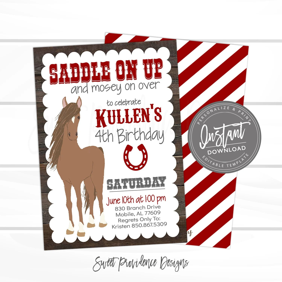 horse birthday invitation saddle up