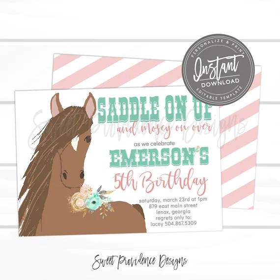 horse birthday invitation western