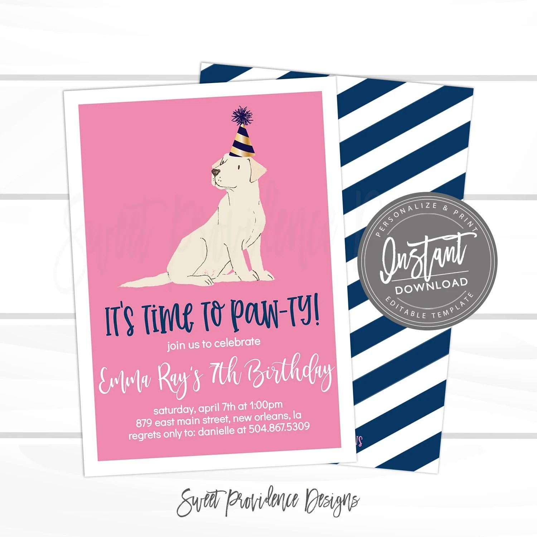 dog birthday invitation time to paw ty