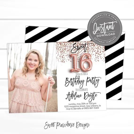 16th birthday invitation editable