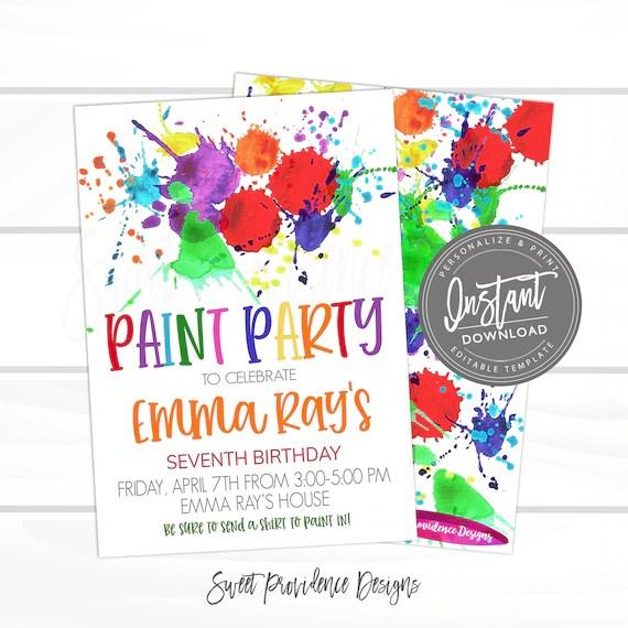 paint party birthday invitation art