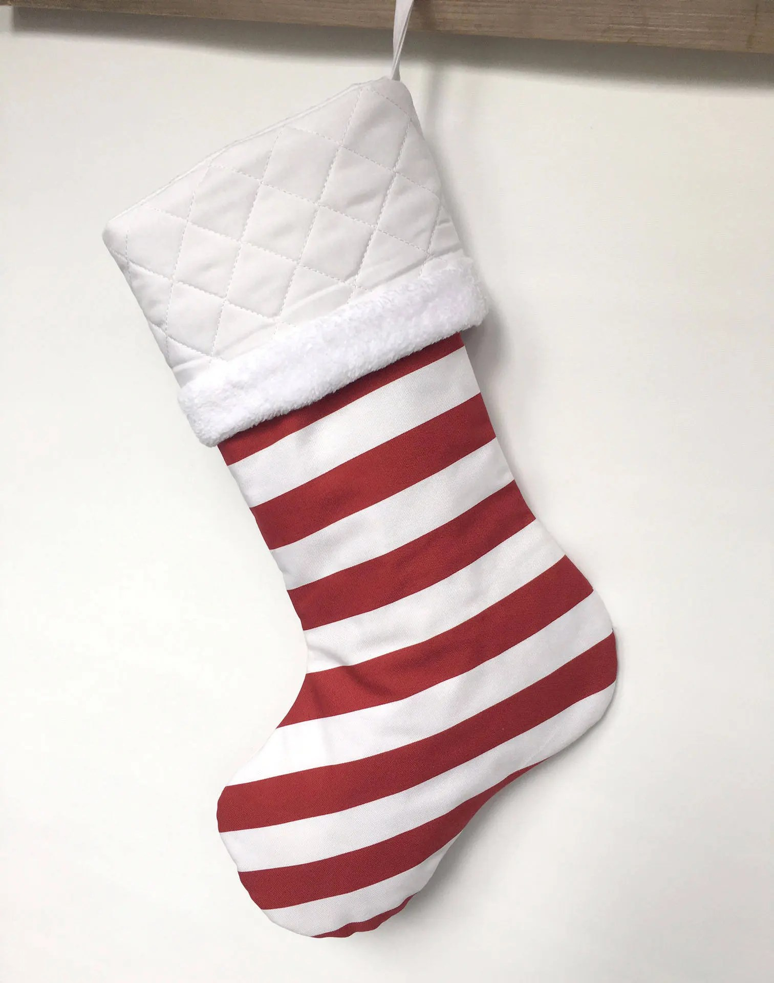 Red and White Stripes  Personalized Christmas Stockings  image 3