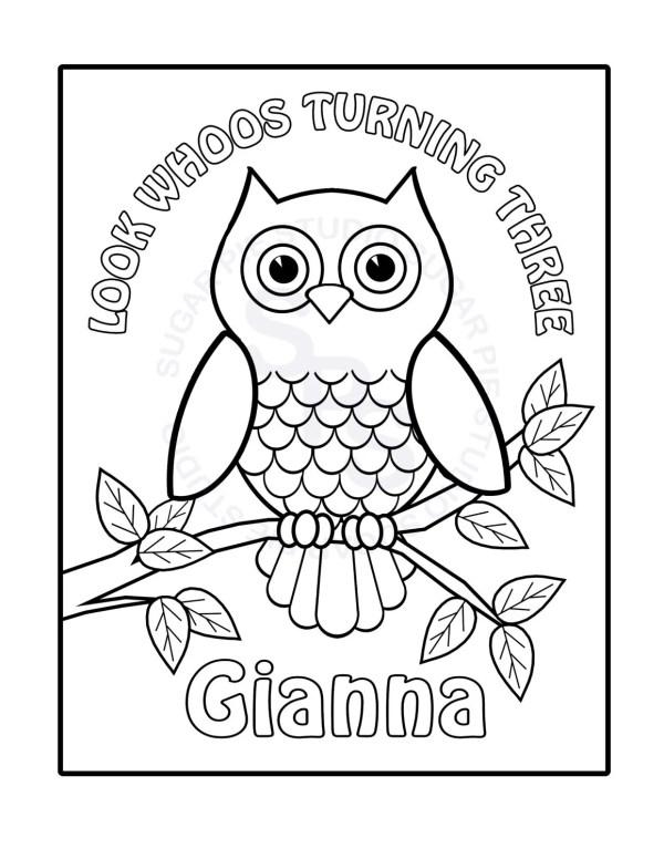 owl color pages # 7