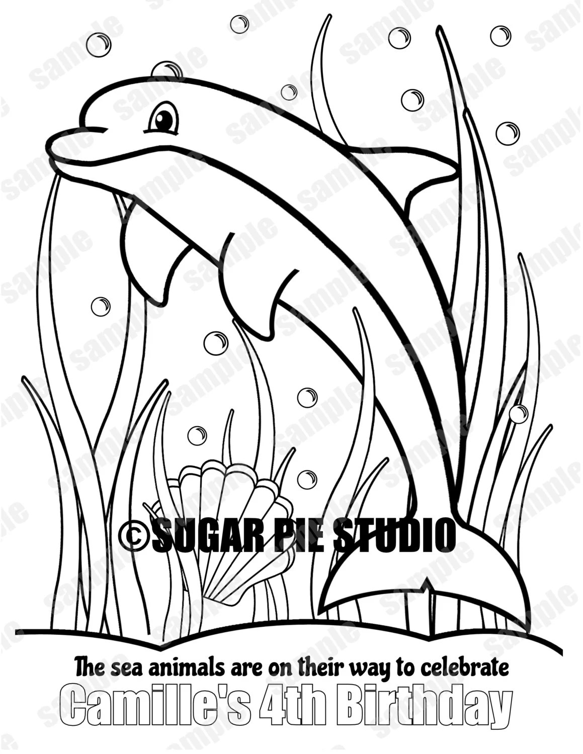 Personalized Printable Under the sea Dolphin Birthday