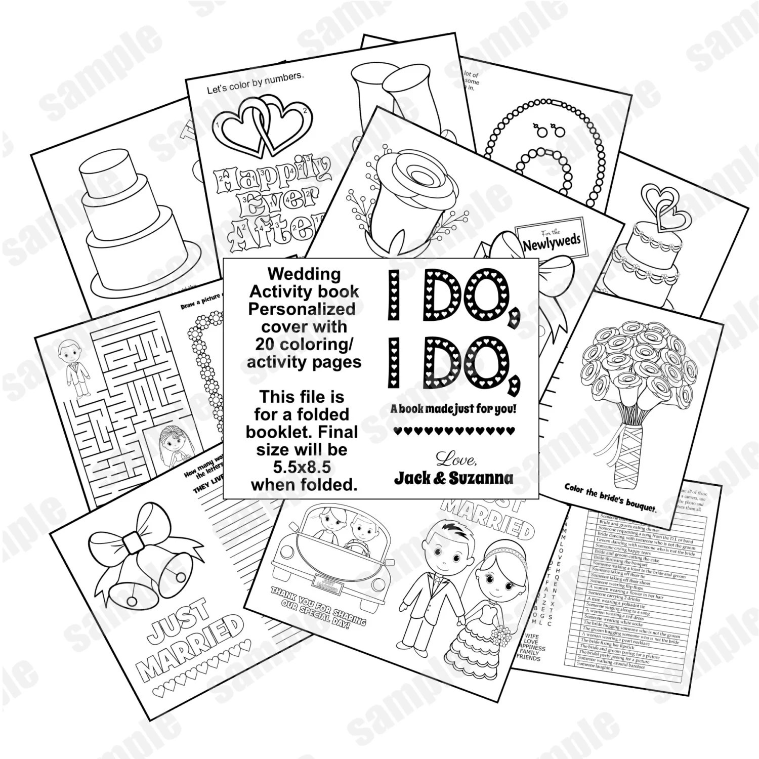Wedding Coloring Book Activity Reception Childrens Favor Kids Table Personalized Or