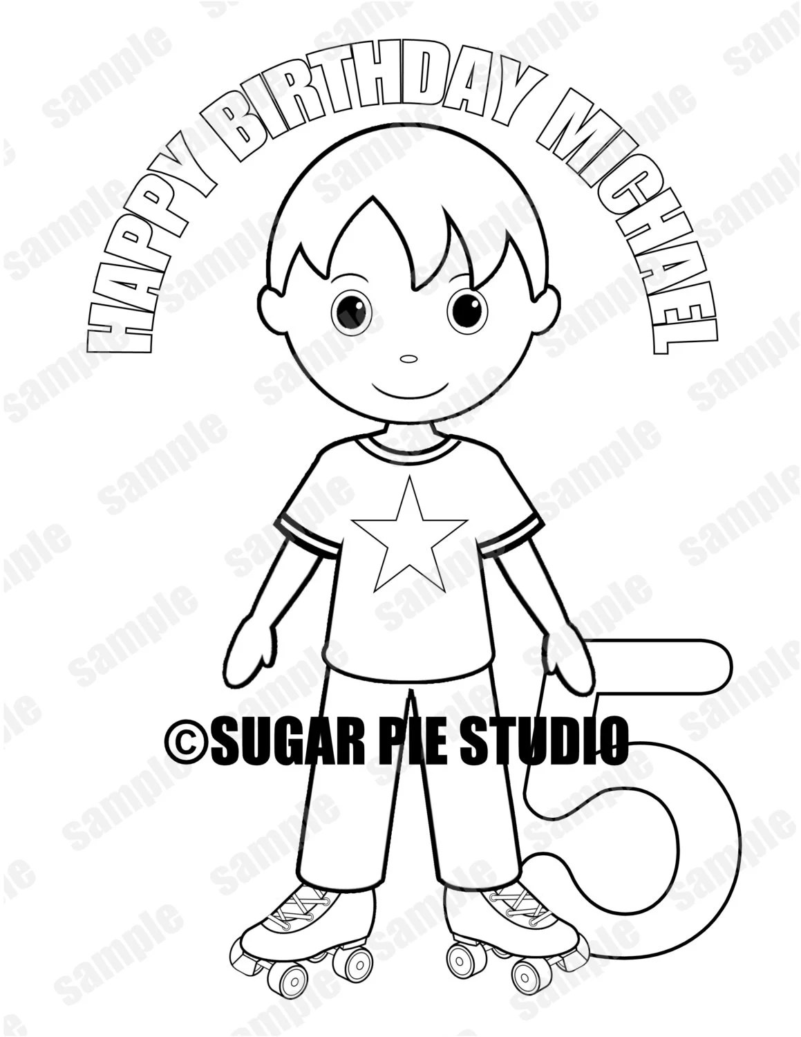 Roller skating coloring page activity Birthday Party Favor