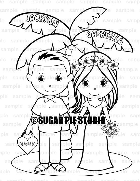 Beach wedding coloring page activity for kids PDF or JPEG