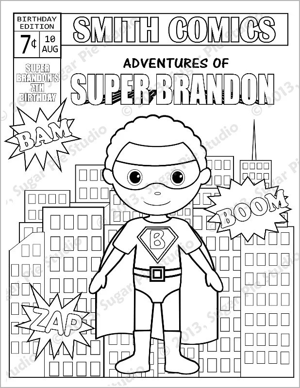 Personalized Printable Comic book SuperHero Girl Boy