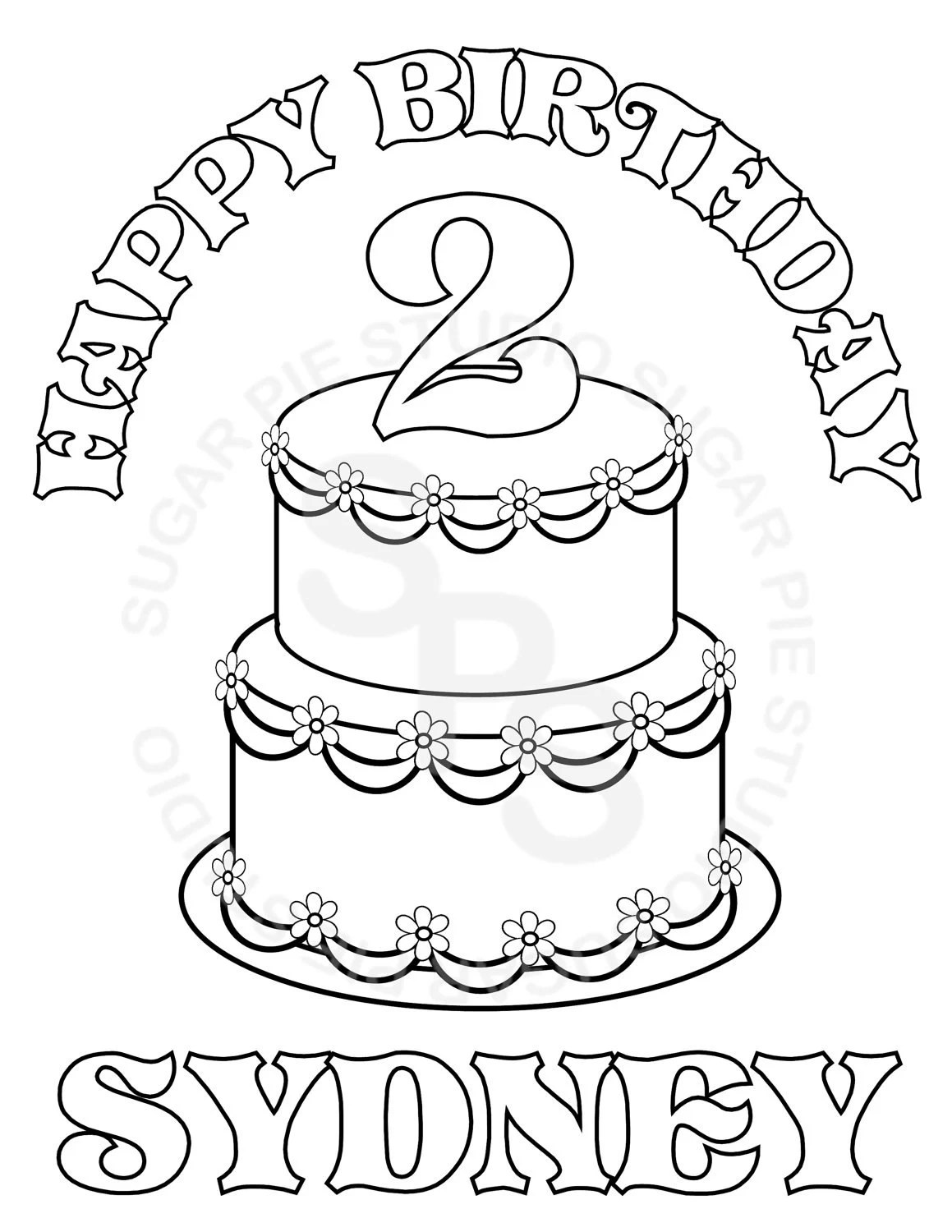 Personalized Printable Birthday Cake Party Favor childrens
