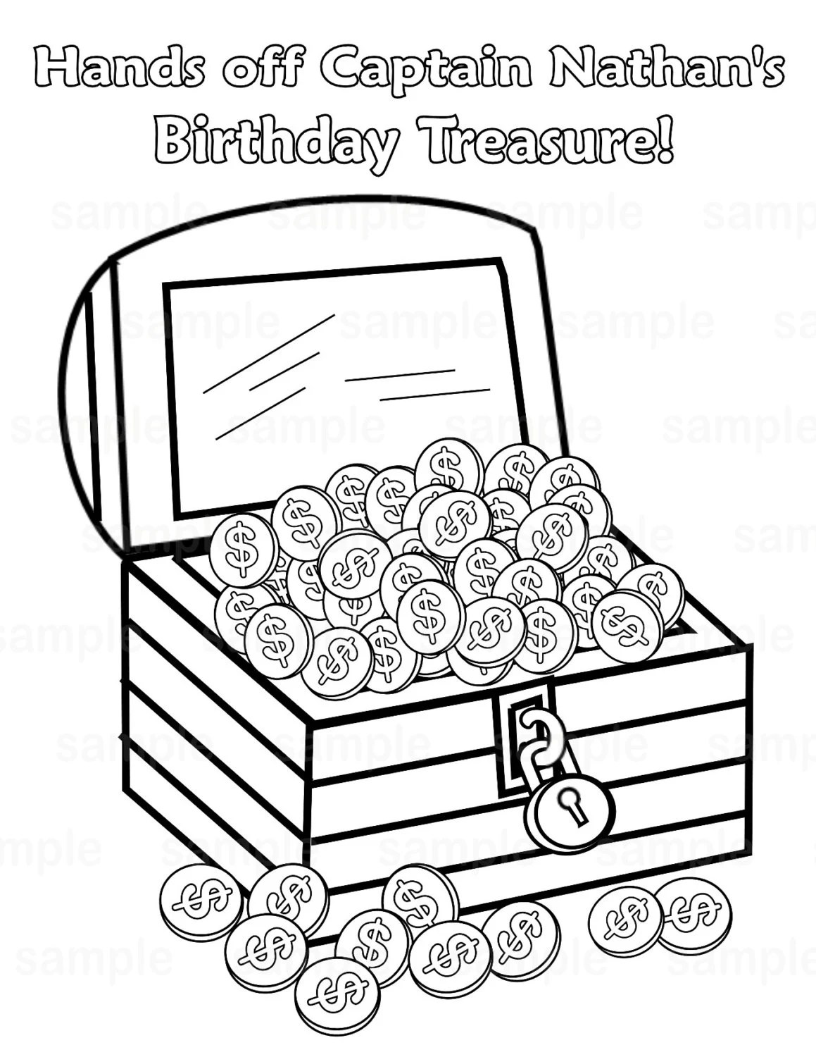 Personalized Printable Pirate Treasure chest Birthday
