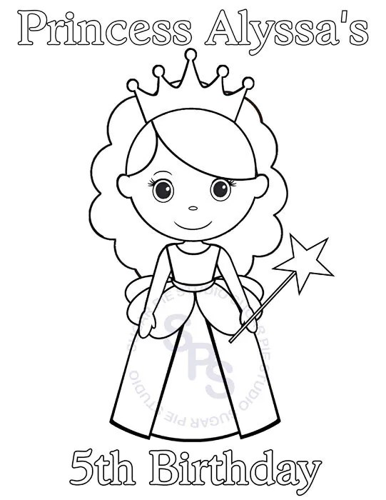 Personalized Printable Princess Birthday Party Favor