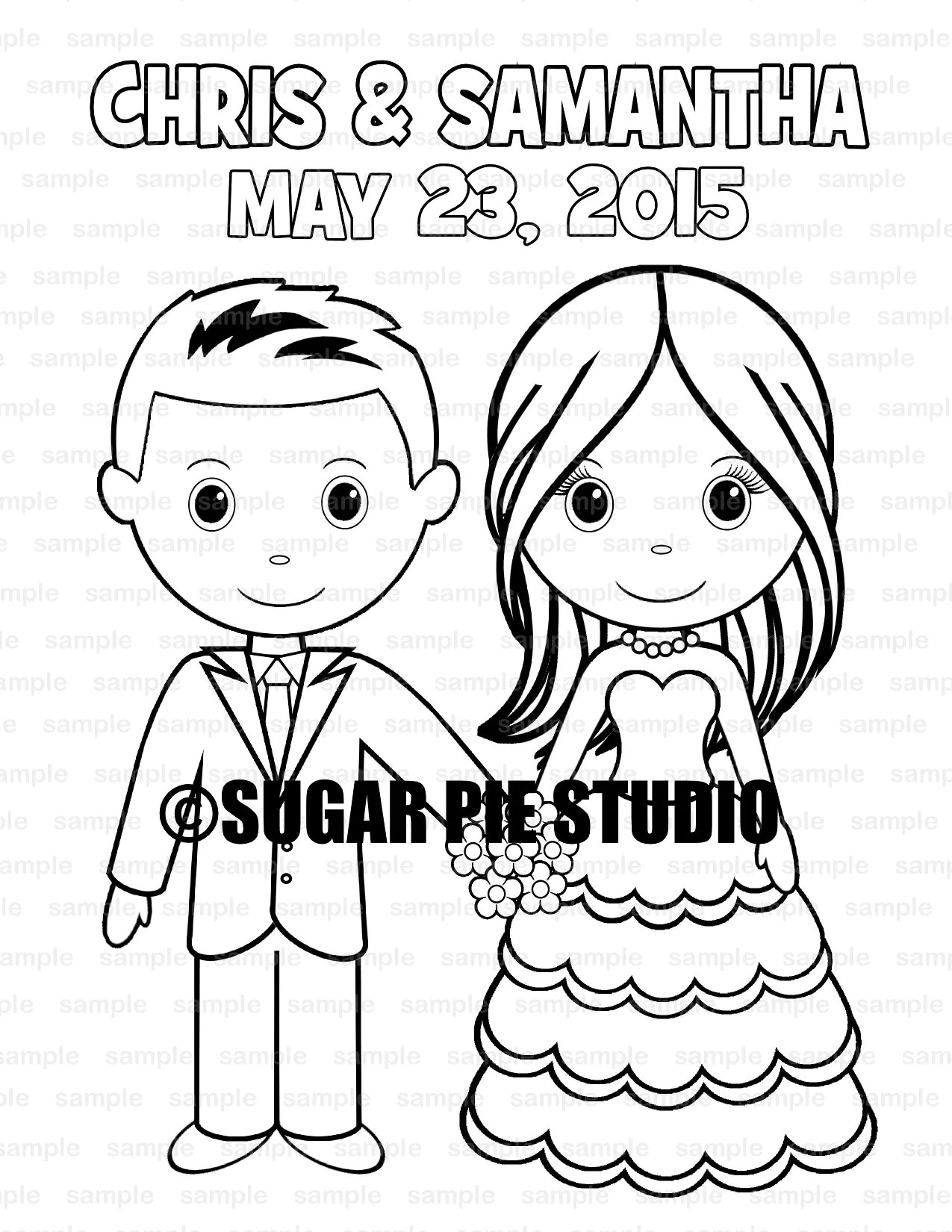 Wedding coloring book activity Favor Kids 8.5 x 11 PDF or