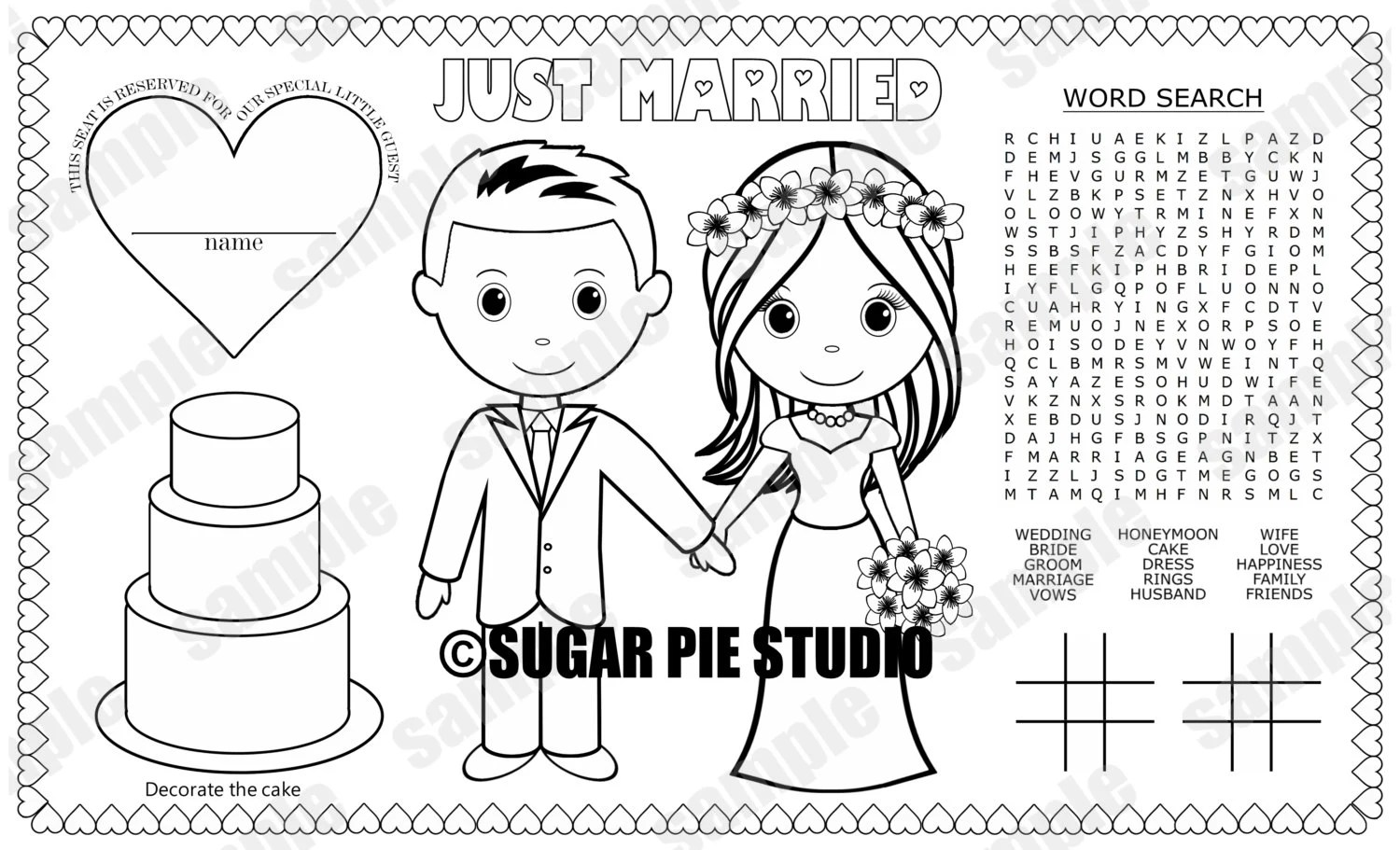 INSTANT DOWNLOAD Printable Bride Groom coloring page place
