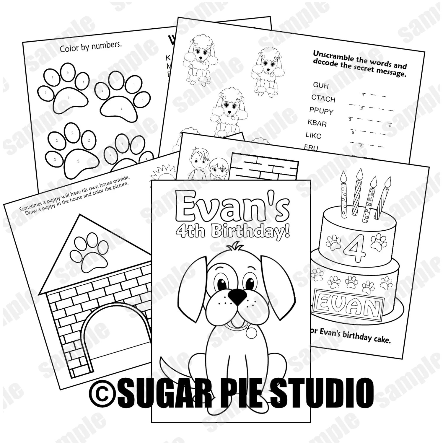 Puppy dog coloring book Printable Personalized Puppy dog