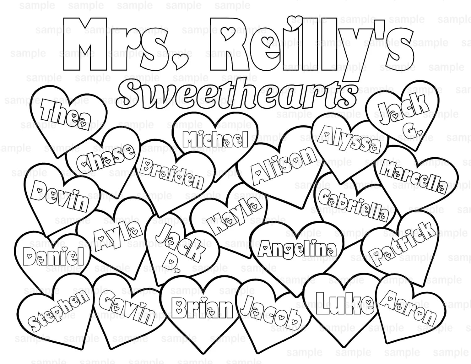 Valentine's Day Teacher's Classroom coloring page PDF or