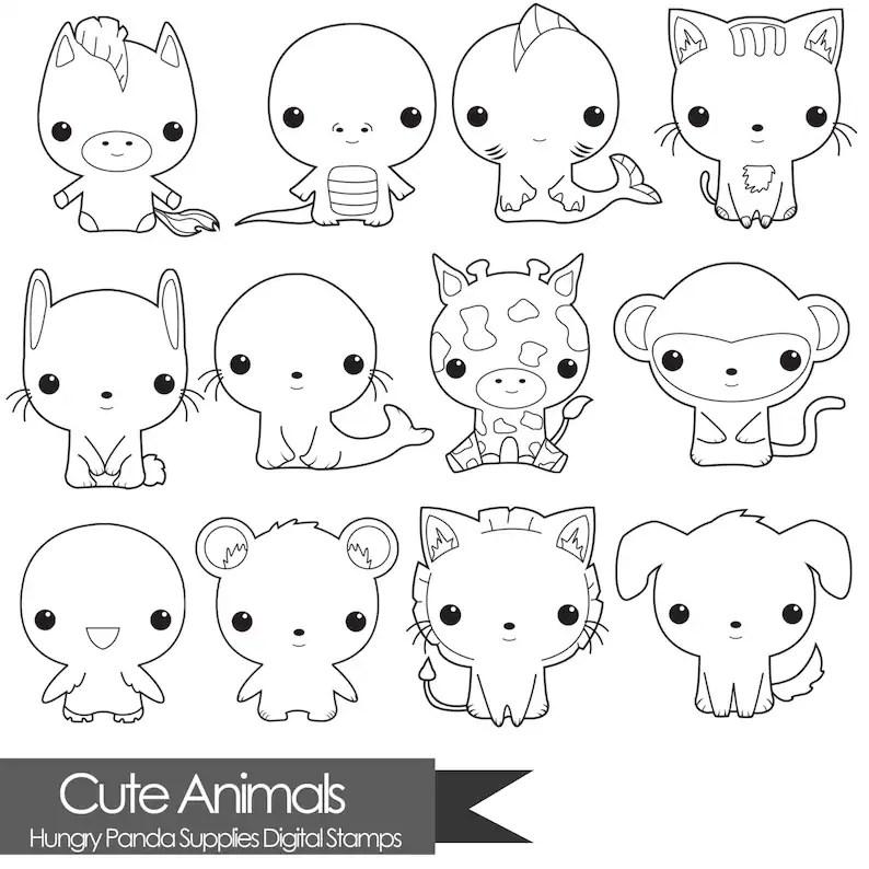 animal digital stamp cute