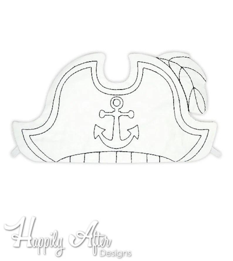 Pirate Hat Coloring Embroidery Design pirate hat machine