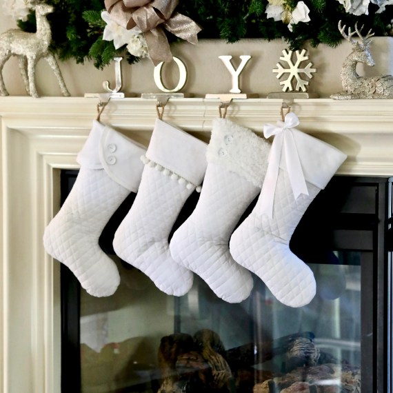 Set of 4 White Christmas Stocking