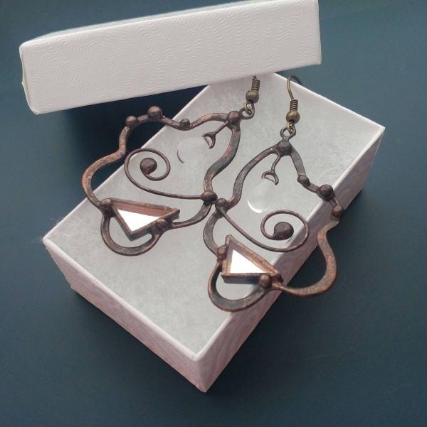 Wire Earrings Mirror Contemporary Jewelry Wearable