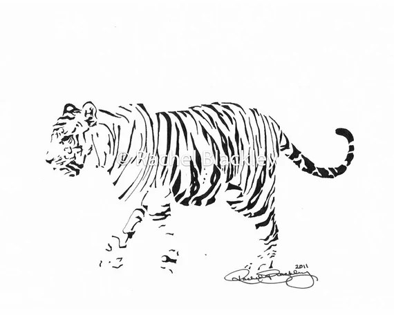 Tiger Ink Sketch Ink Drawing Pen And Ink Black And White Etsy