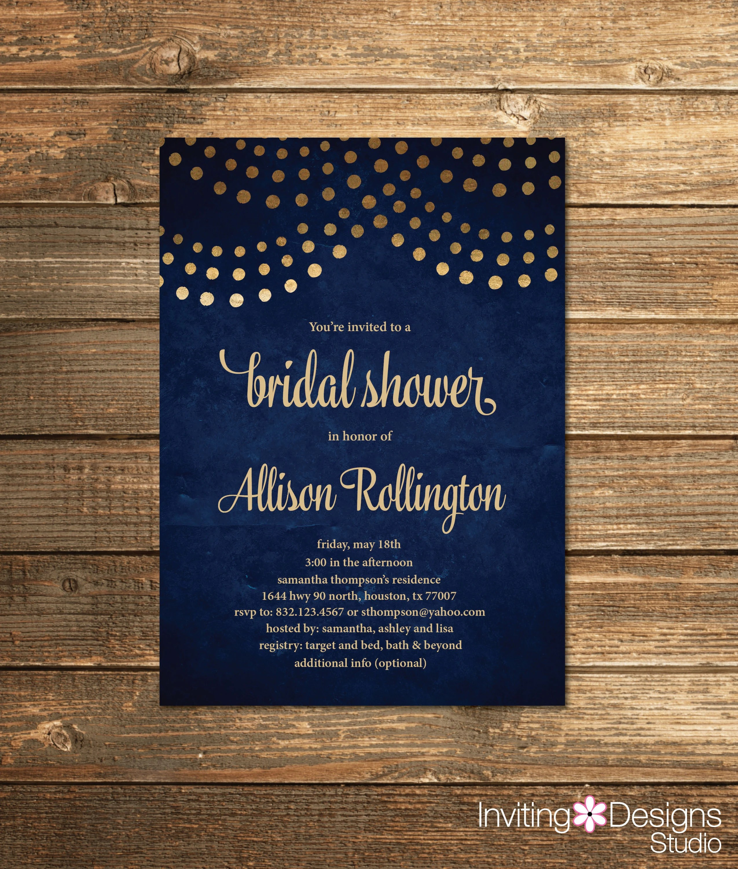Looking for bridal shower theme ideas? Navy Blue Bridal Shower Invitation Navy And Gold String Etsy