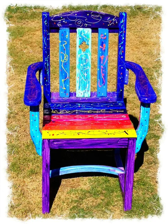 funky wooden chairs the big chair tears for fears rainbow vibrant ooak uniquely hand painted strong etsy image 0